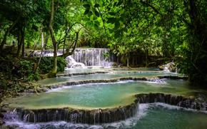 关西瀑布, 老挝, 瀑布, 森林, 树, 岩石, 性质