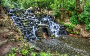 Virginia Waters Waterfall, cascata, Rocce, alberi, paesaggio