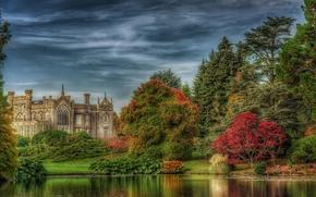 Sheffield Park House, Lake, река, замок, осень, деревья, пейзаж