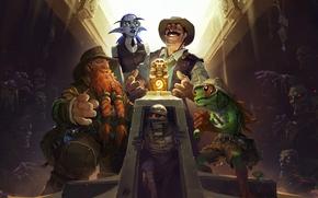 Hearthstone: Heroes of Warcraft - La Lega di Explorers, Pietra del focolare, Heroes of Warcraft, La Lega di Explorers, Brann Bronzebeard, Reno Jackson, Elise Starseeker, Sir Finley Mrrgglton