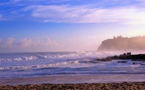 Rincon, Puerto Rico, sea, waves, shore, landscape, panorama