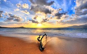 piasek, wschd soca, morze