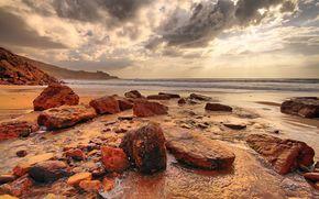 Portugal, mar, costa, piedras, Rocas, puesta del sol, paisaje