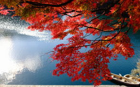 Lake Bishamon, Bandai, Fukushima, japan, Lake Bishamon, Bandai, Fukushima, Japan, lake, Boat, wharf, Japanese Maple, maple, BRANCH, autumn