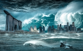 L'impatto del livello del mare sulle Singapore, tempesta, tempesta