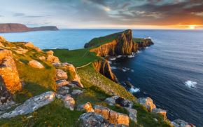 Neist Point, faro, Isola di Skye, Ebridi Interne, Scozia, GB, tramonto, paesaggio