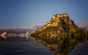 Castello di Hochosterwitz, Carinzia, Austria, Castello di Hochosterwitz, Carinzia, Austria, castello, roccia, acqua, riflessione, Photoshop