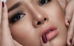 Ramonne Rodriguez, face, view, makeup, hands, fingers, manicure