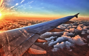 sky, sunset, wing aircraft, clouds, art