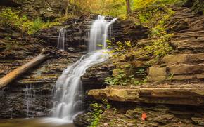 осень, водопад, скалы, природа