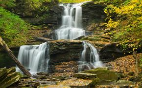 autumn, waterfall, Rocks, nature
