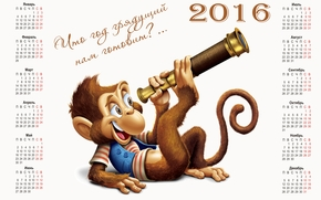 calendar that the coming year 2016, monkey, Monkey symbol 2016, Calendar 2016, calendar with a monkey