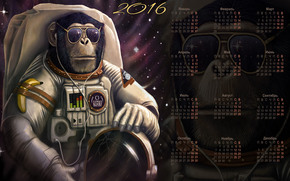 Calendario per il 2016. L'origine del genere umano, scimmia, Simbolo Scimmia 2016, Calendario 2016, calendario con una scimmia
