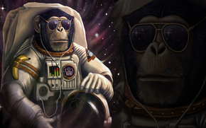 macaco astronauta, 3d, arte