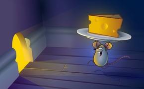 ratón, queso, madriguera, arte