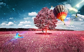 field, tree, balloon, parrot, art