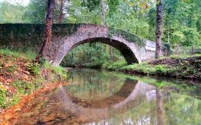 rivière, pont, arbres, paysage