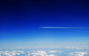 небо, облака, самолёт, пейзаж