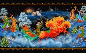 Año Nuevo, Navidad, Palekh, Palekh, pintura, tres, trineo, baile