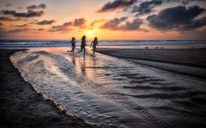 日落, 海, 岸, 景观