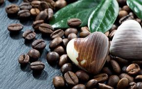 кофейные зёрна, кофе, зёрна, шоколадные конфеты, конфеты, шоколад