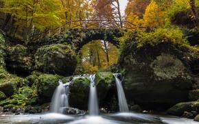 Schiessentümpel waterfall, Black Ernz river, Mullerthal, Luxembourg, Little Switzerland, река Эрнц-Нуар, река Чёрный Эрнц, Мюллерталь, Люксембург, Люксембургская Швейцария, Маленькая Швейцария, водопад, каскад, мост, река, лес, осень