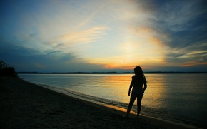 sunset, sea, silhouette of a girl, Mood