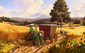 field, Waggon, horses
