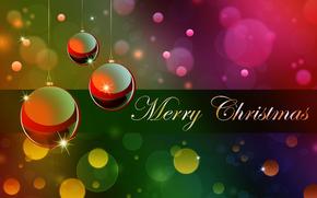 новогодние обои, праздничные, шары