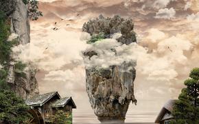 wyspa, morze, Rocks, domy, chmury