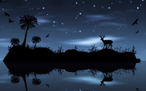 night, island, Star, deer, birds, trees