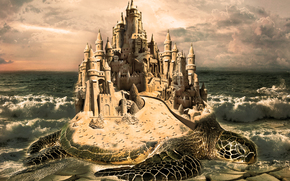 Meer, Wellen, Schildkröte, Schloss, Sonnenuntergang