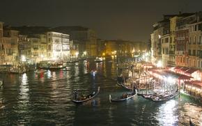 Italia, Venezia, Canal Grande, notte