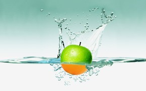 apple, water, spray, wallpaper is