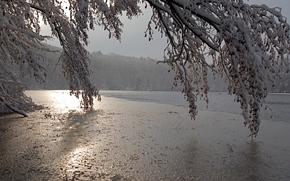 inverno, lago, tramonto, paesaggio