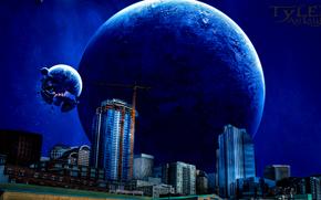 espacio, 3d, arte, ciudad, Planeta