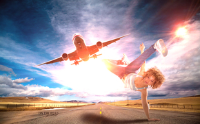 road, plane, girl, art