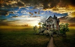 coucher du soleil, domaine, maison, paysage, art
