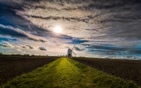 pôr do sol, campo, arável, moinho, paisagem