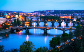 city, Czech Republic, czech republic, Prague, Praga, beautiful, panoramany, view, on, bridges, through, River, Vltava, Prague Bridges