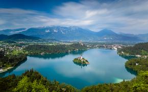 Lago di Bled, Slovenia, Pokljuka, Lago di Bled, Slovenia, Chiesa Mariinsky, Pokljuka, Montagne, isola, lago, chiesa, paesaggio