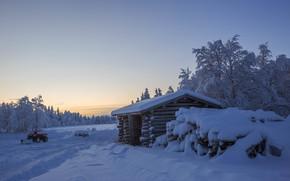 zima, śnieg, dom, drzew, Finlandia