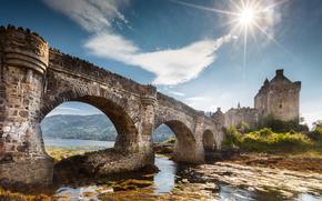 Eilean Donan Castle, Dornie, Scotland, Замок Эйлиан Донан, Дорн, Шотландия, мост, озеро