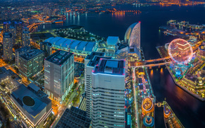 Minato Mirai 21, Yokohama, japan, Tokyo Bay, Minato Mirai 21, Yokohama, Japan, Tokyo Bay, city nightlife, building, Skyscrapers, bay, panorama