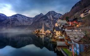 Hallstatt, Austria, Lago di Hallstatt, Alpi, Hallstatt, Austria, Lago di Hallstatt, Alpi, lago, Montagne, domestico, riflessione, paesaggio