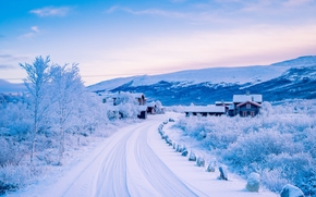 Dovre, norway, Scandinavian Mountains, Dovre, Norway, Scandes, winter, snow, road, village, houses, Mountains