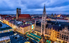 拜仁慕尼黑, 德国, 慕尼黑, 市政厅, 圣诞节, 圣诞市场, 圣诞树, 教堂
