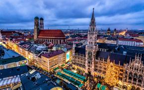 Bayern, Germany, Munich, Guildhall, Christmas, Christmas Market, Christmas tree, church