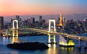 токио, япония, ночь, огни