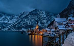 Hallstatt, Austria, Lago di Hallstatt, Alpi, panorama